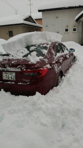 これから雪かき〜(;_;)半分埋まってます…(*_*)